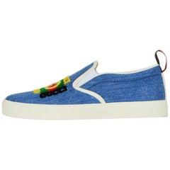 Gucci Men's Kura Denim Slip-On Sneakers w/ Gucci Logo Patch sz 8 rt $670