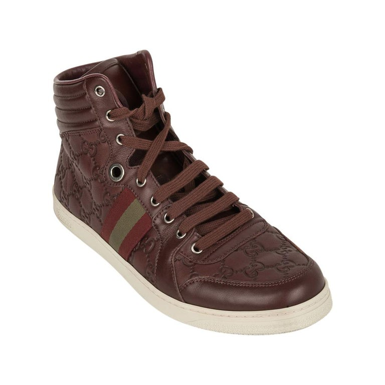 Gucci Men's Leather Logo Embossed High Top Sneakers 9G / 10.5 USA For Sale 6