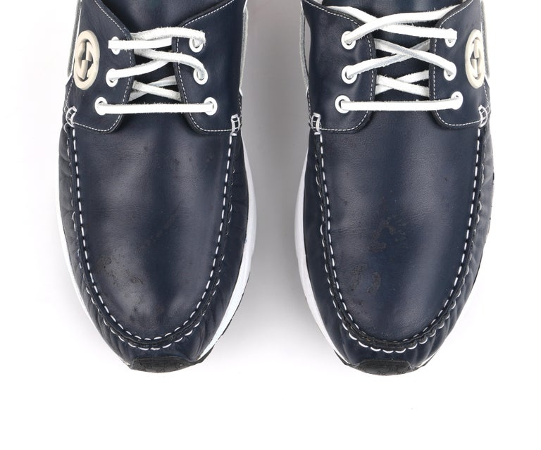 GUCCI Men's Leather Rubber Sole Lace Up Low Top Athletic Boat Shoes  For Sale 7