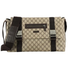 Gucci Messenger Buckle Bag GG Coated Canvas Large