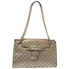 Gucci Metallic Beige Guccissima Leather Large Emily Chain Shoulder Bag