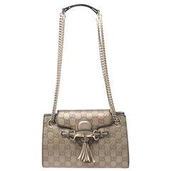 Gucci Metallic Beige Guccissima Leather Small Emily Chain Shoulder Bag
