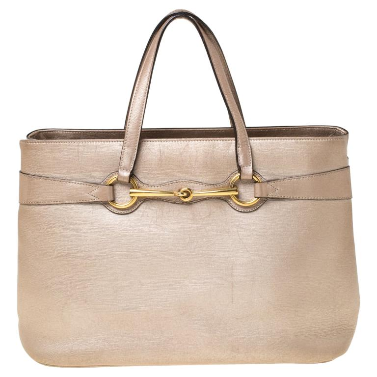 Gucci Metallic Beige Leather Bright Bit Tote For Sale