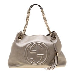 Gucci Metallic Beige Leather Medium Soho Tote