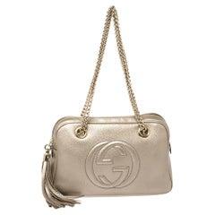 Gucci Metallic Beige Leather Small Soho Chain Shoulder Bag