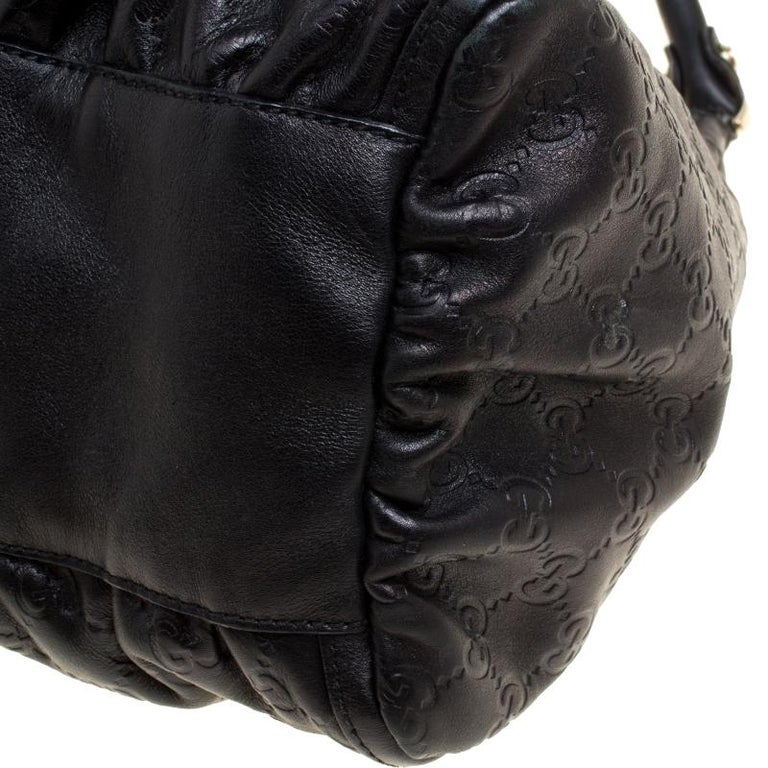 56fcd891d Gucci Metallic Black Leather Large D Ring Hobo For Sale at 1stdibs