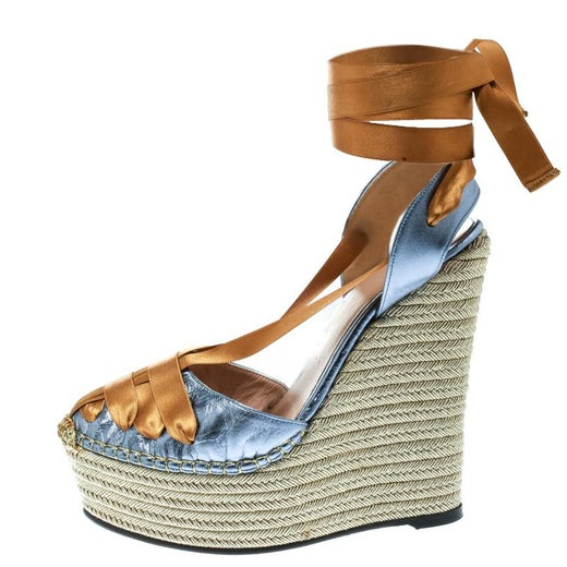 6f7871c4432 Gucci Metallic Blue Dark Yellow Alexis Wrap Platform Wedge Sandals Size  36.5 For Sale at 1stdibs