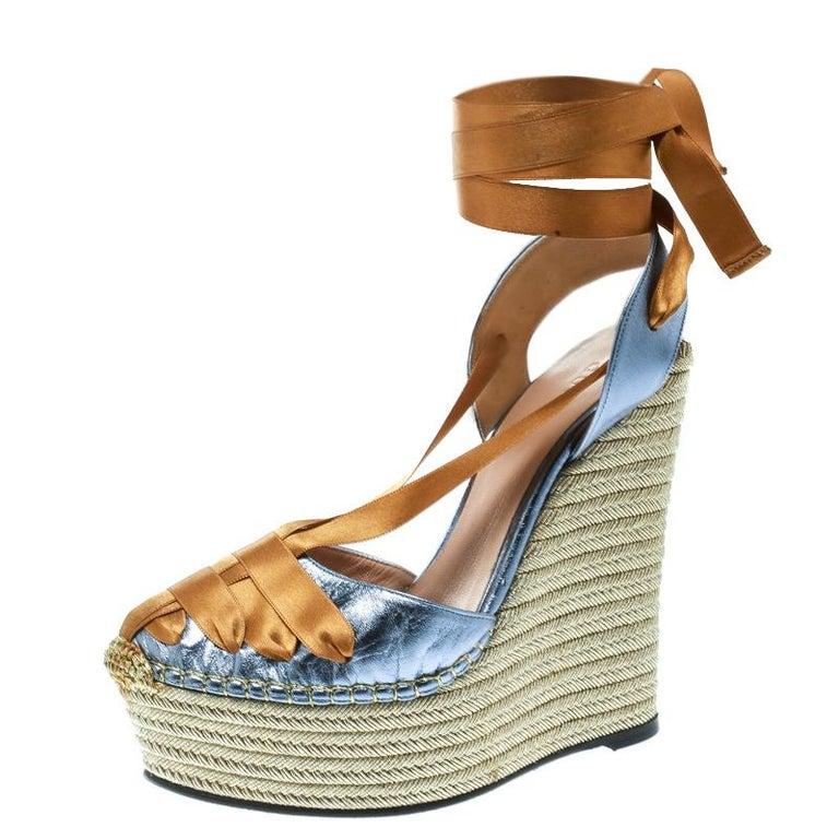 ffad9abcb3c Gucci Metallic Blue Dark Yellow Alexis Wrap Platform Wedge Sandals Size  36.5 For Sale