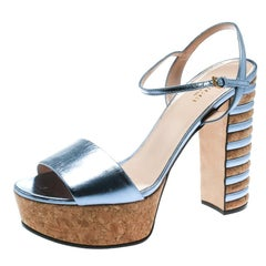 Gucci Metallic Blue Leather Claudie Platform Sandals Size 39
