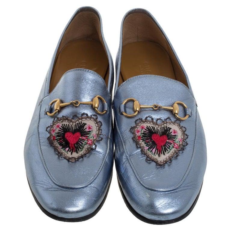 Gray Gucci Metallic Blue Leather Jordaan Horsebit Slip On Loafers Size 40 For Sale