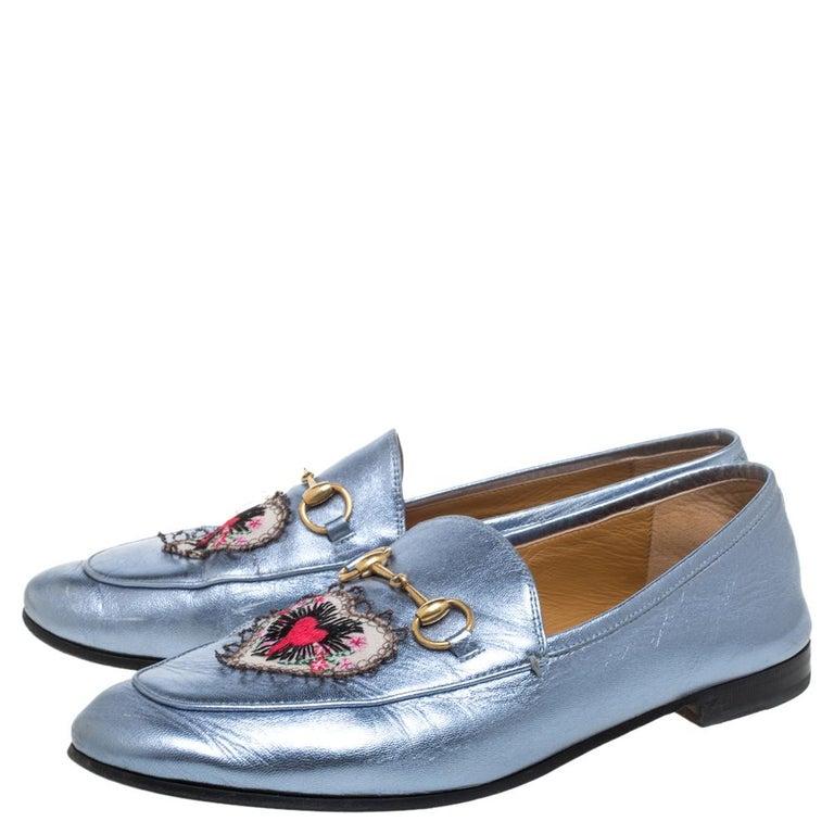 Women's Gucci Metallic Blue Leather Jordaan Horsebit Slip On Loafers Size 40 For Sale