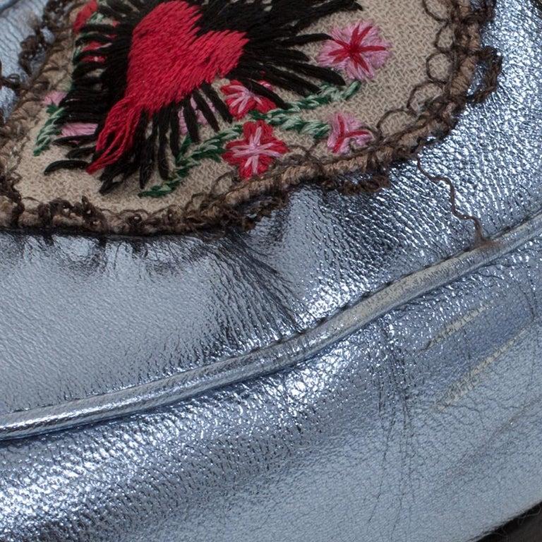 Gucci Metallic Blue Leather Jordaan Horsebit Slip On Loafers Size 40 For Sale 1