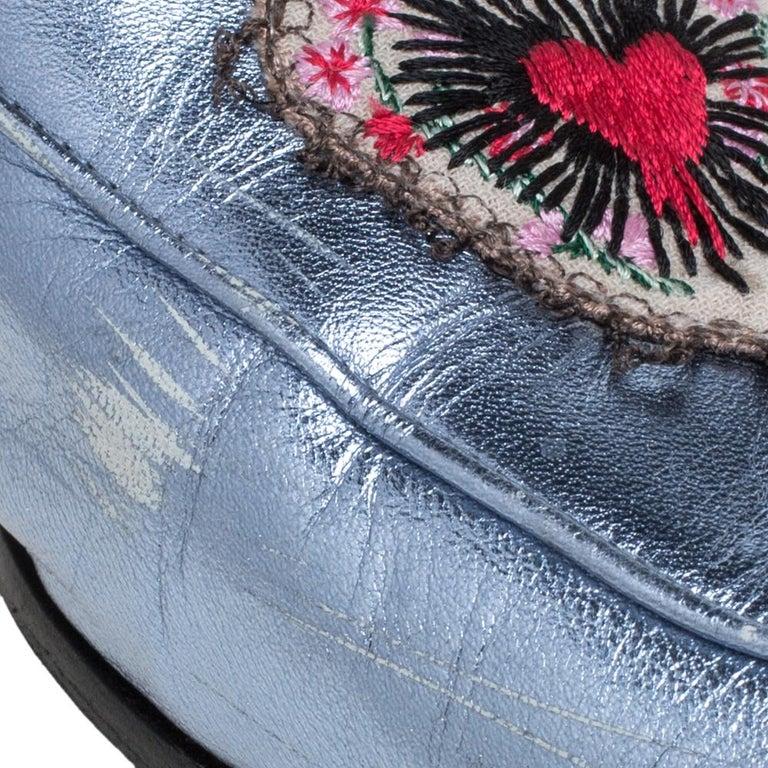 Gucci Metallic Blue Leather Jordaan Horsebit Slip On Loafers Size 40 For Sale 2
