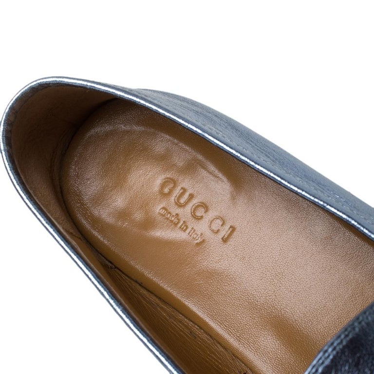 Gucci Metallic Blue Leather Jordaan Horsebit Slip On Loafers Size 40 For Sale 3
