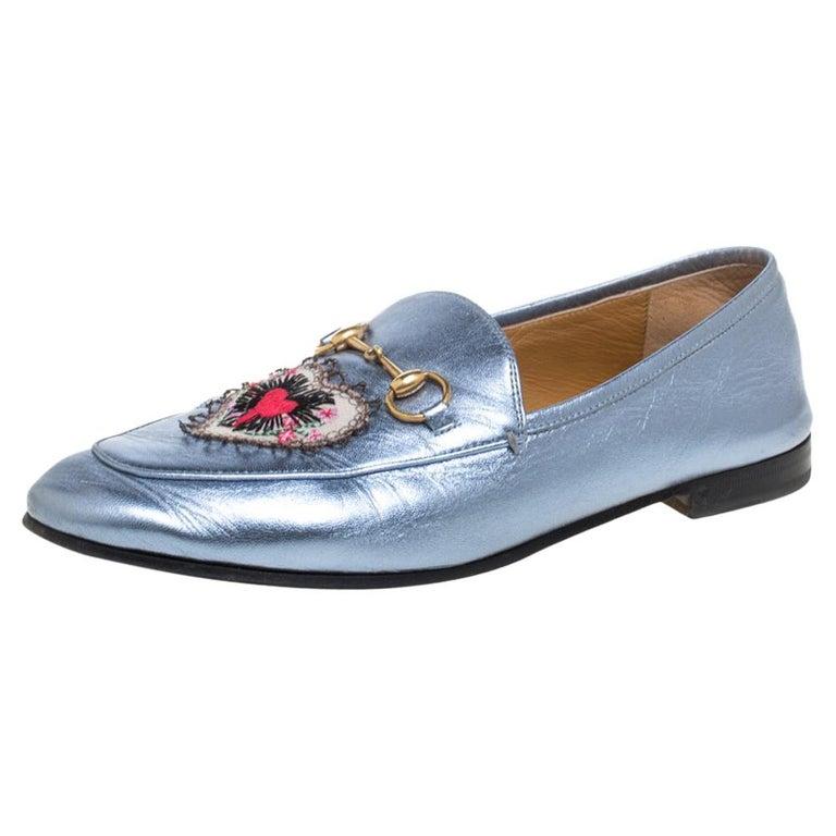 Gucci Metallic Blue Leather Jordaan Horsebit Slip On Loafers Size 40 For Sale