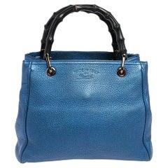 Gucci Metallic Blue Leather Small Bamboo Shopper Tote