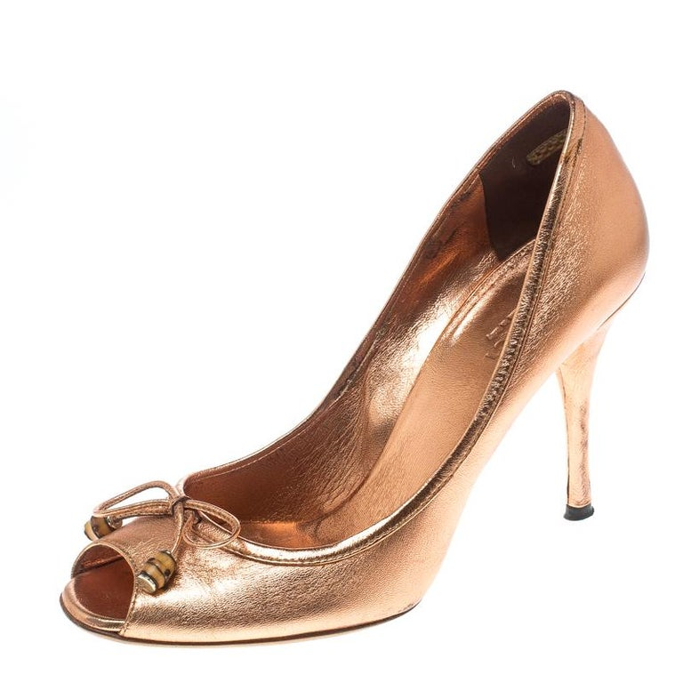 Gucci Metallic Bronze Leather Bamboo Bow Peep Toe Pumps Size 37 For Sale a6c1dccf5e2f