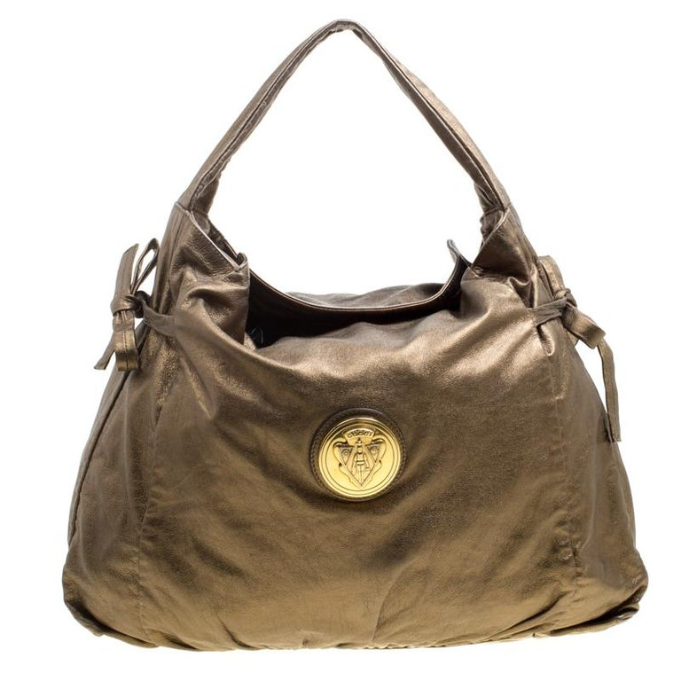 a66d02c9714 Gucci Metallic Bronze Leather Hysteria Medium Hobo For Sale at 1stdibs