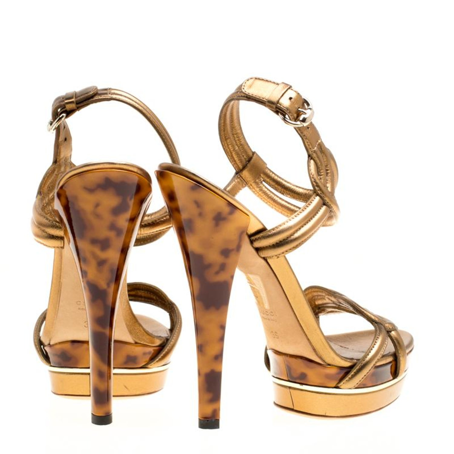253e17f3d325 Gucci Metallic Bronze Leather Orchid Twist Detail Tortoise Heel Platform  Sandals For Sale at 1stdibs