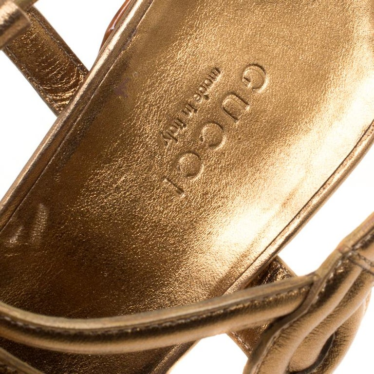 ab5767e7492d Gucci Metallic Bronze Leather Orchid Twist Detail Tortoise Heel Platform  Sandals In Excellent Condition For Sale