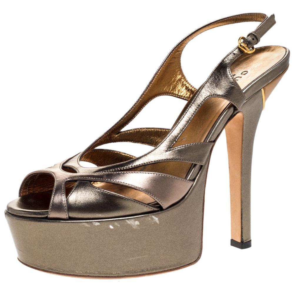Gucci Metallic Bronze Leather Strappy Platform Slingback Sandals Size 37
