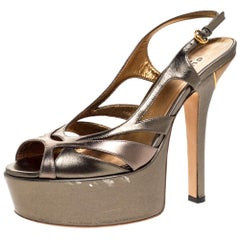 Gucci Metallic Bronze Leather Strappy Platform Slingback Sandals Size 37
