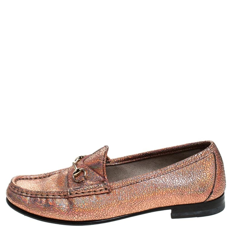 Women's Gucci Metallic Bronze Textured Leather Horsebit Slip On Loafers Size 36.5 For Sale