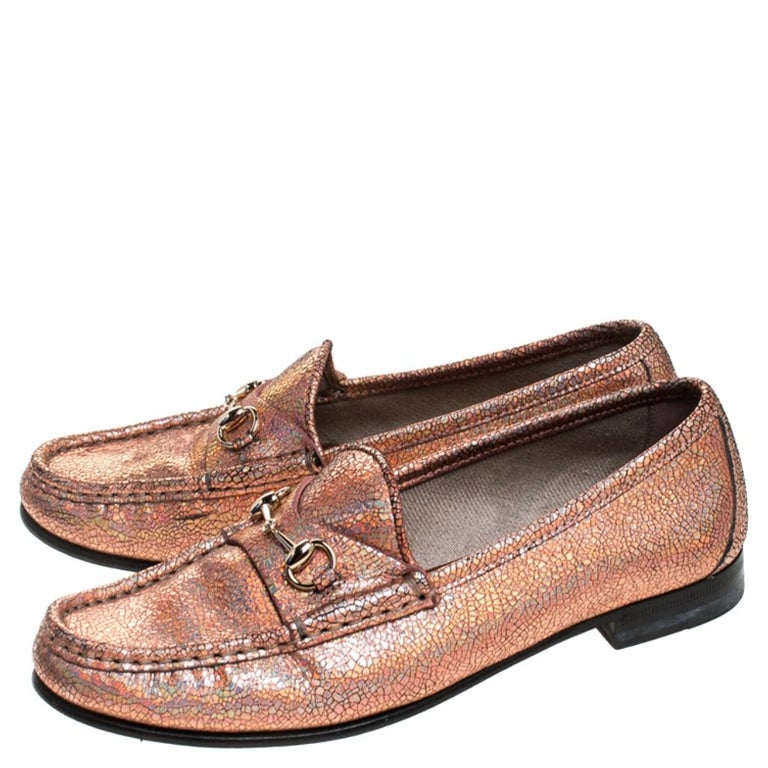 Gucci Metallic Bronze Textured Leather Horsebit Slip On Loafers Size 36.5 For Sale 1