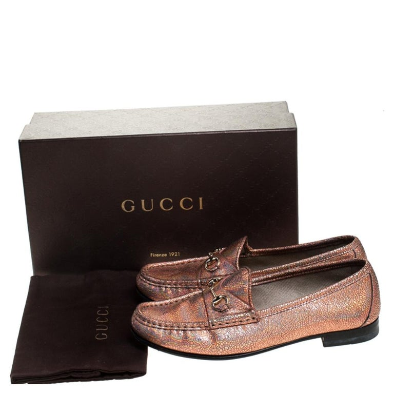 Gucci Metallic Bronze Textured Leather Horsebit Slip On Loafers Size 36.5 For Sale 3