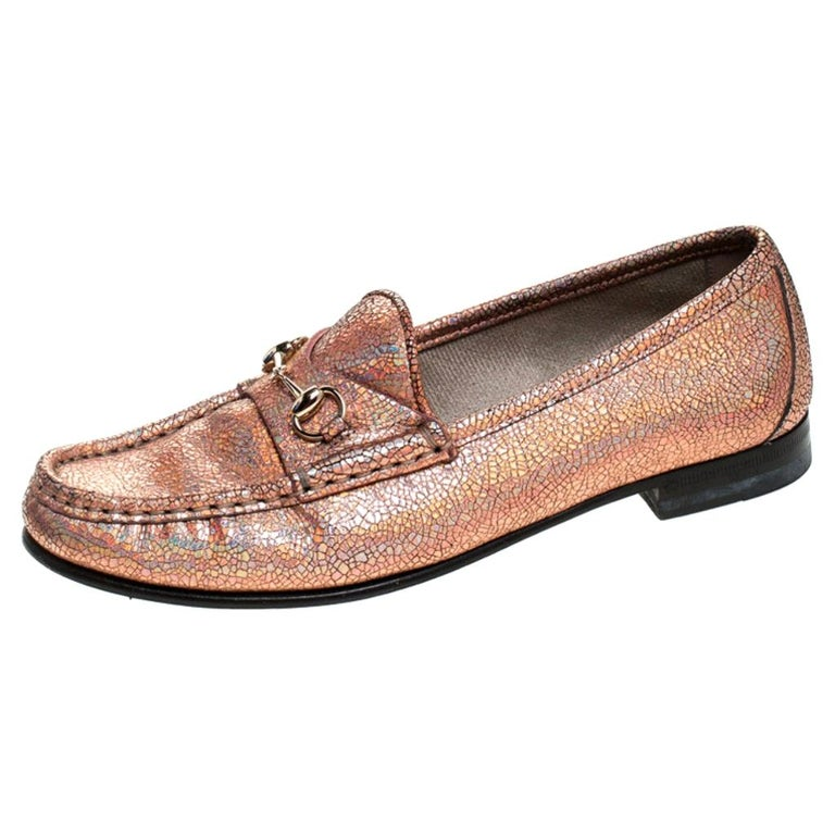 Gucci Metallic Bronze Textured Leather Horsebit Slip On Loafers Size 36.5 For Sale