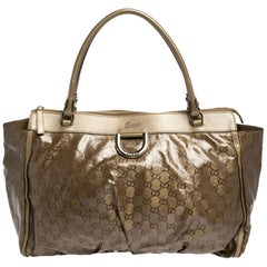 Gucci Metallic/Brown GG Crystal Canvas and Leather D Ring Tote