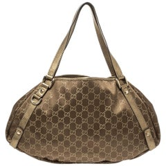 Gucci Metallic/Brown GG Fabric and Leather Medium Abbey Shoulder Bag