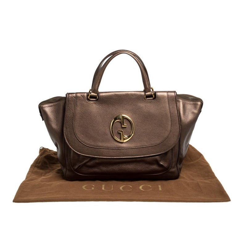 Gucci Metallic Brown Leather Medium 1973 Top Handle Tote Bag For Sale 8