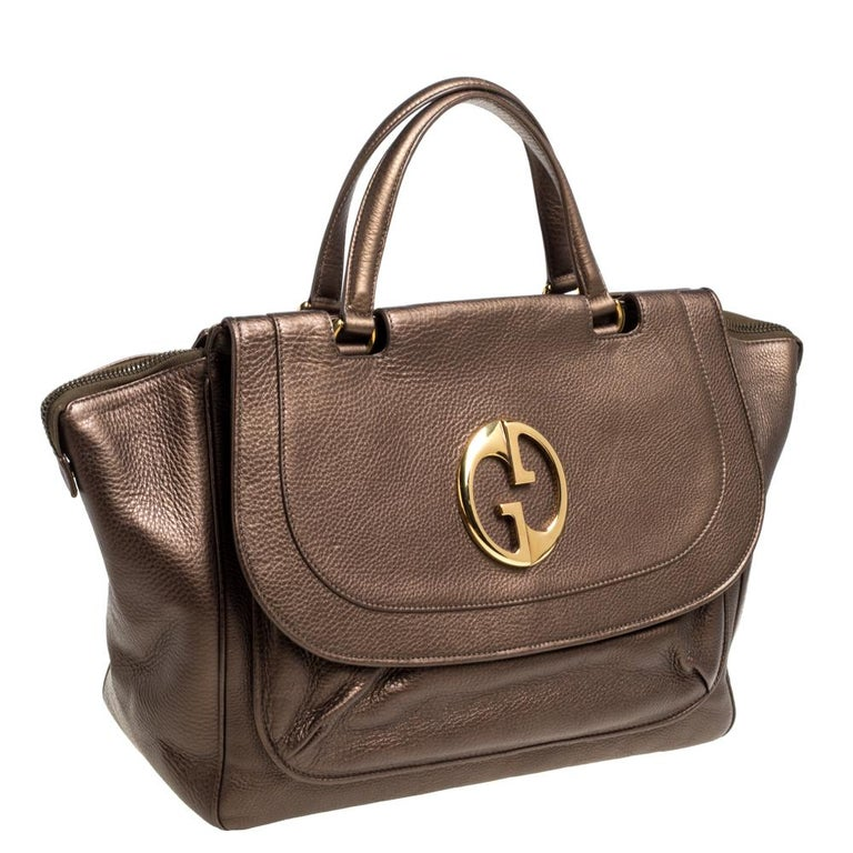 Women's Gucci Metallic Brown Leather Medium 1973 Top Handle Tote Bag For Sale