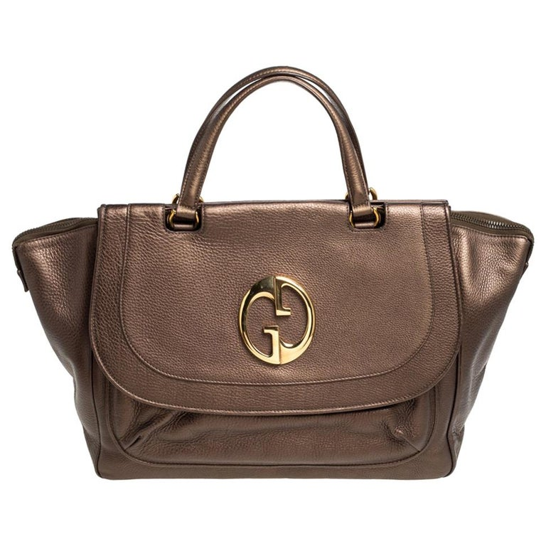 Gucci Metallic Brown Leather Medium 1973 Top Handle Tote Bag For Sale