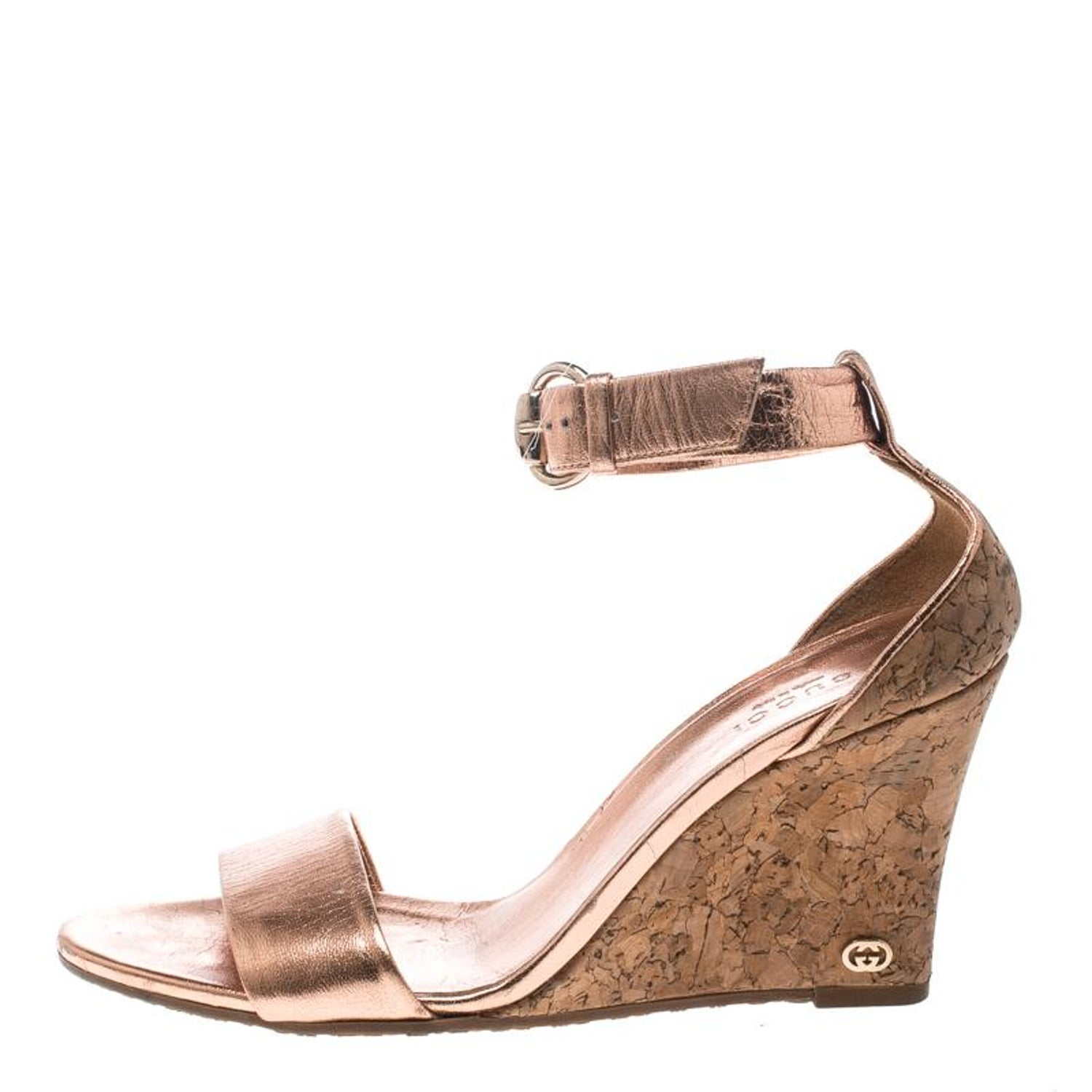 326fa1c3f756 Gucci Metallic Copper Leather Santander Ankle Strap Cork Wedge Sandals Size  37 For Sale at 1stdibs