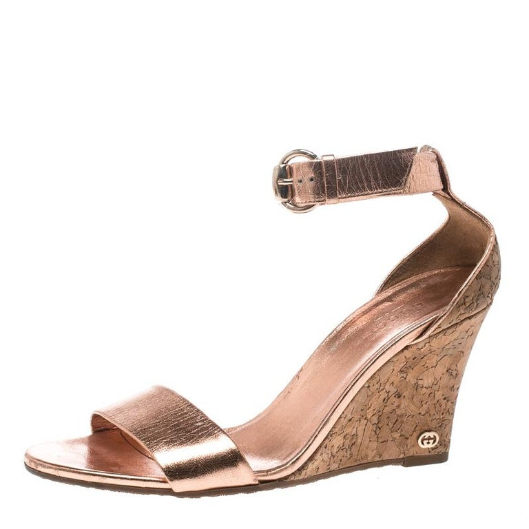 f06d89bbfb2a Gucci Metallic Copper Leather Santander Ankle Strap Cork Wedge Sandals Size  37 For Sale
