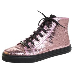 Gucci Metallic Glitter Leather And Leather Trim California  Sneakers Size 38