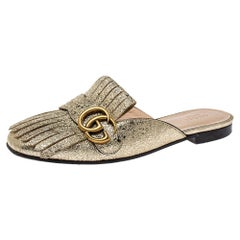 Gucci Metallic Gold Crackle Leather GG Marmont Kiltie Flat Mules Size 37