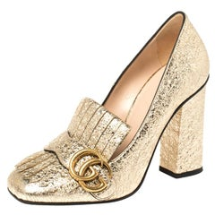 Gucci Metallic Gold Crinkled Leather GG Marmont Fringe Pumps Size 36