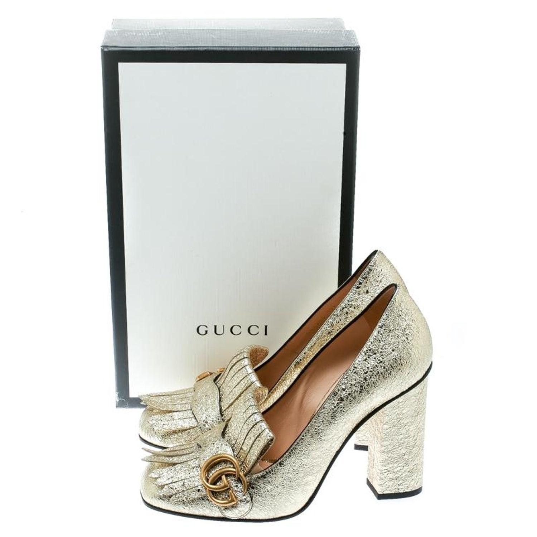 83284c3d7 Gucci Metallic Gold Foil GG Marmont Fringe Detail Block Heel Pumps Size 39.5  For Sale at 1stdibs