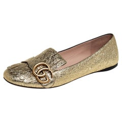 Gucci Metallic Gold Foil Leather GG Marmont Fringe Detail Flats Size 36
