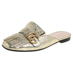 Gucci Metallic Gold Foil Leather GG Marmont Kiltie Mules Size 39