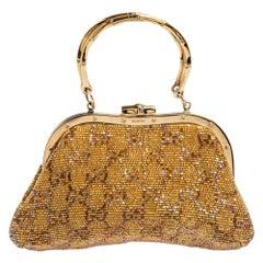 Gucci Metallic Gold GG Beads Small Frame Bag