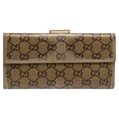Gucci Metallic Gold GG Crystal Coated Canvas and Leather Continental Wallet
