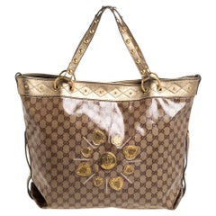 Gucci Metallic Gold GG Crystal Coated Canvas Studded Irina Tote