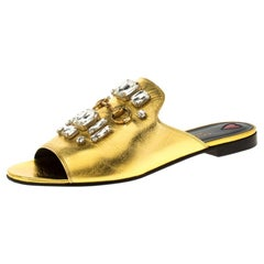 Gucci Metallic Gold Leather Crystal Embellished Julie Faceted Flat Mules Size 40