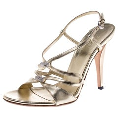 Gucci Metallic Gold Leather Embellished Ankle Strap Sandals Size 37