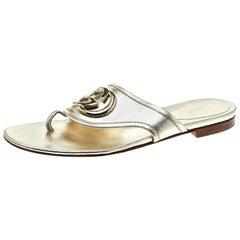 Gucci Metallic Gold Leather GG logo Thong Slipper Size 37
