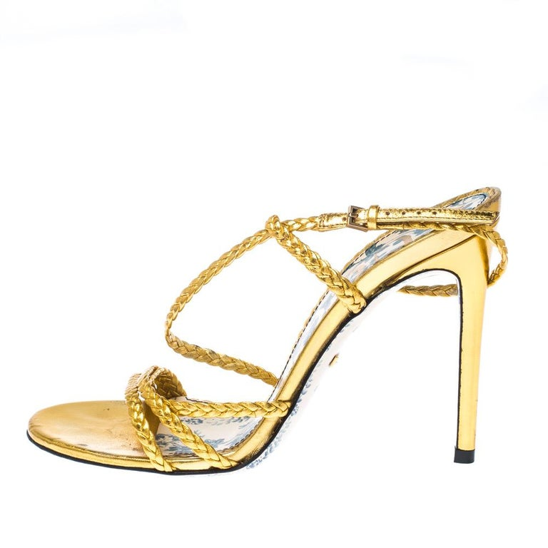 Gucci Metallic Gold Leather Haines Braided Slingback Sandals Size 37 For Sale 1